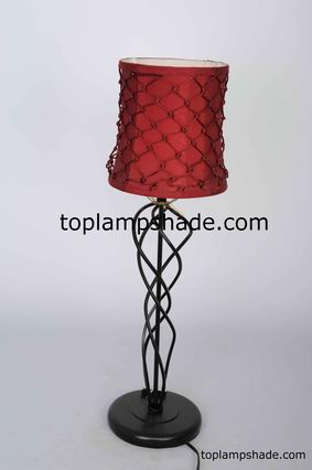 Drum Red Silk Table Lampshade-LS2024